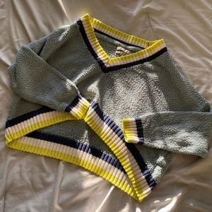 UO Kacey Blue Multi Cropped Varsity Sweater